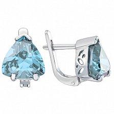 Серебряные серьги Верди с голубым топазом