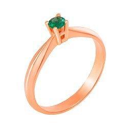 Кольцо из красного золота с изумрудом 000124850