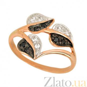 Золотое кольцо Осень с черными и белыми фианитами VLT--Е1110-2