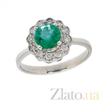 Золотое кольцо в белом цвете с изумрудом и бриллиантами Мариэль ZMX--RE-6287w_K