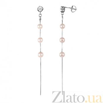 Серебряные серьги с жемчугом и цирконием Абигэйл  SLX--С2ФЖ/826