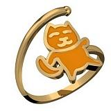 Золотое кольцо Китти с эмалью