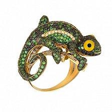 Кольцо из желтого золота Ящерица с фианитами