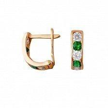 Золотые серьги Дормео с зелеными и белыми фианитами