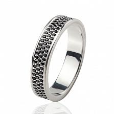 Обручальное кольцо Водопад с черными бриллиантами