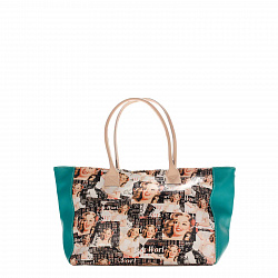 Кожаная сумка на каждый день Genuine Leather 8007 микс с бирюзовыми боковыми вставками, на молнии