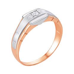 Перстень-печатка в комбинированном цвете золота с цирконием и родированием 000134926