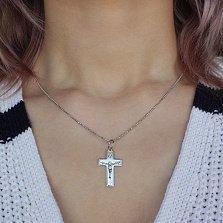 Крестик из серебра Небесная защита с родием