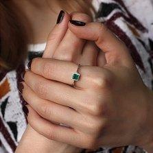 Кольцо в белом золоте Старлин с зеленым агатом и цирконием