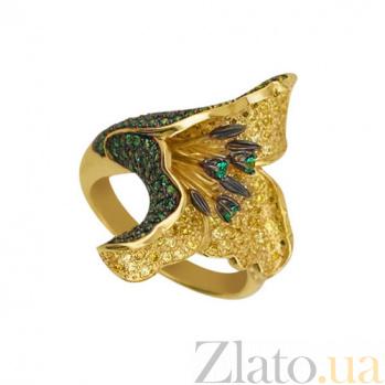 Кольцо из желтого золота Гавайская роза с фианитами VLT--ТТ1100-1
