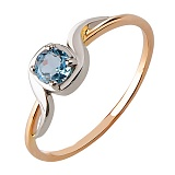 Кольцо из красного золота с голубым топазом Искренность