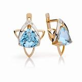 Золотые серьги с голубыми топазами и бриллиантами Аксиома