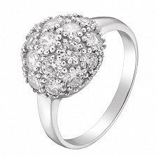 Серебряное кольцо Пион с фианитами