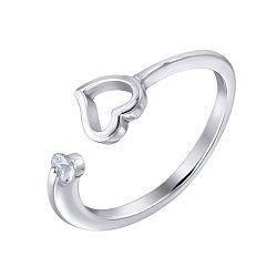 Серебряное кольцо с разомкнутой шинкой с сердечком и цирконием 000124935