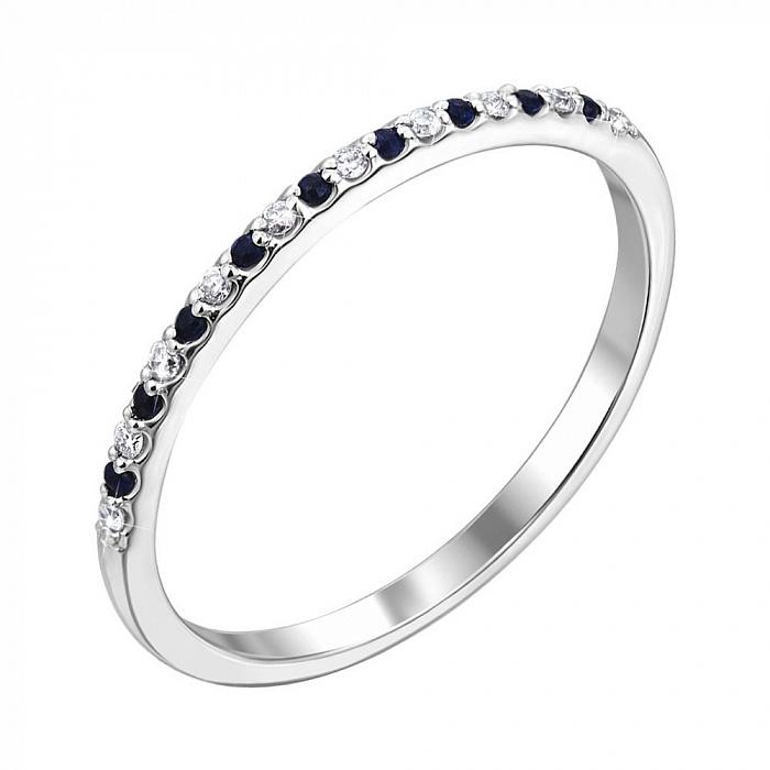Кольцо из белого золота с сапфирами и бриллиантами 000140647 000140647