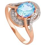 Золотое кольцо Джеральдина с топазом и фианитами