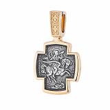 Серебряный крестик Георгий Победоносец с позолотой и чернением
