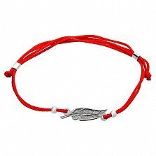 Шелковый браслет Пёрышко с серебряной фигурной вставкой