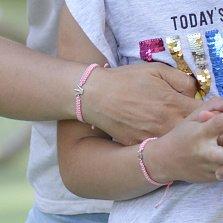 Детский плетеный браслет Принцесса с cеребряной вставкой и фианитом 10-10см