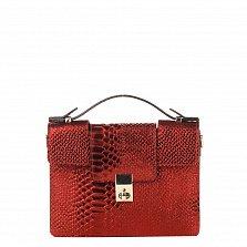 Кожаный клатч Genuine Leather 1606 бордового цвета под кожу рептилии с короткой ручкой