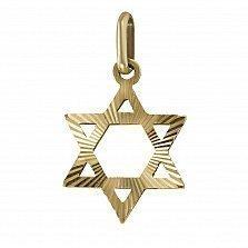 Кулон из красного золота Звезда Давида с алмазной насечкой