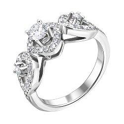 Кольцо из белого золота с бриллиантами и родированием 000131425