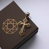 Серебряный крест позолоченный с чёрной эмалью Высшая сила