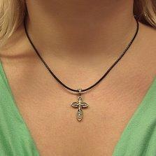 Серебряный крест Закон Божий с позолотой и чернением