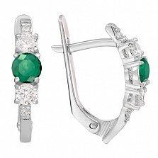 Серебряные серьги Танита с зелеными агатами и фианитами