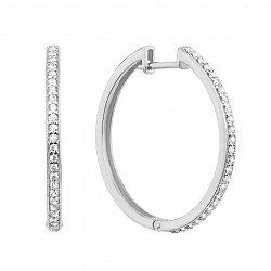Золотые серьги-кольца Летний вечер в белом цвете с фианитами, прим. 30мм