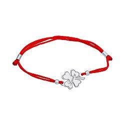 Браслет из серебра и красной шелковой нити Lucky 000134529