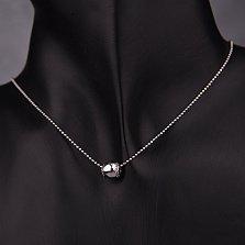 Золотой кулон-шарм Сондра в белом цвете с фианитами на цепочку или тонкий браслет до 3мм