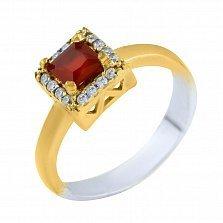 Кольцо из серебра и бронзы Лаки с рубином и фианитами