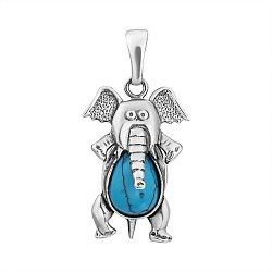 Серебряная подвижная подвеска Слон с бирюзой и чернением