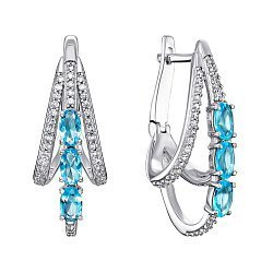 Серебряные серьги Кристесса с голубым кварцем и фианитами