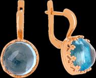 Золотые серьги Дама с топазами