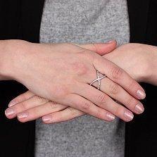 Серебряное кольцо Лилу с дорожками белых фианитов