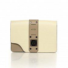 Кожаный клатч Genuine Leather 8917 коричнево-бежевого цвета с декоративной пряжкой