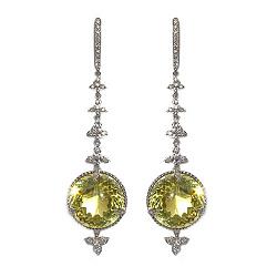 Золотые серьги с бриллиантами и лимонным топазом Сharm color