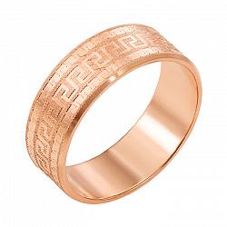 Золотое обручальное кольцо Алексия в красном цвете с алмазной гранью