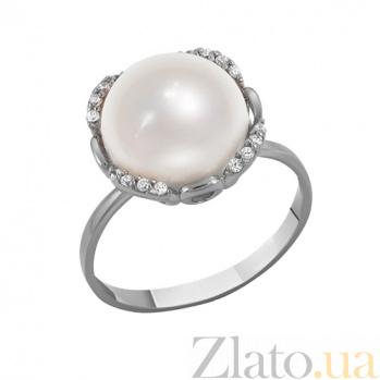 Кольцо в белом золоте Афина с жемчугом и фианитами 000023204