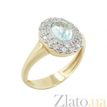 Золотое кольцо с топазом и фианитами Касильда 2К532-0006