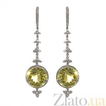 Золотые серьги с бриллиантами и лимонным топазом Сharm color ZMX--EDTy-00322w