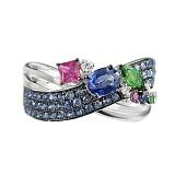 Золотое кольцо с сапфирами, цаворитами и рубинами Лунная радуга