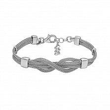 Серебряный многослойный браслет в плетении Лисий хвост 000124498