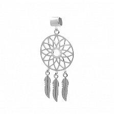 Серебряный кулон Цветочный ловец снов с тремя длинными перышками