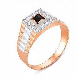 Золотой перстень-печатка в комбинированном цвете с фианитами 000137189