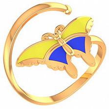 Золотое кольцо Метелик с эмалью