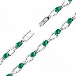 Серебряный браслет с зеленым кварцем и фианитами 000136457