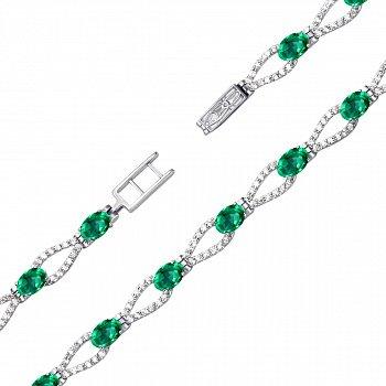 Срібний браслет із зеленим кварцом і фіанітами 000136457